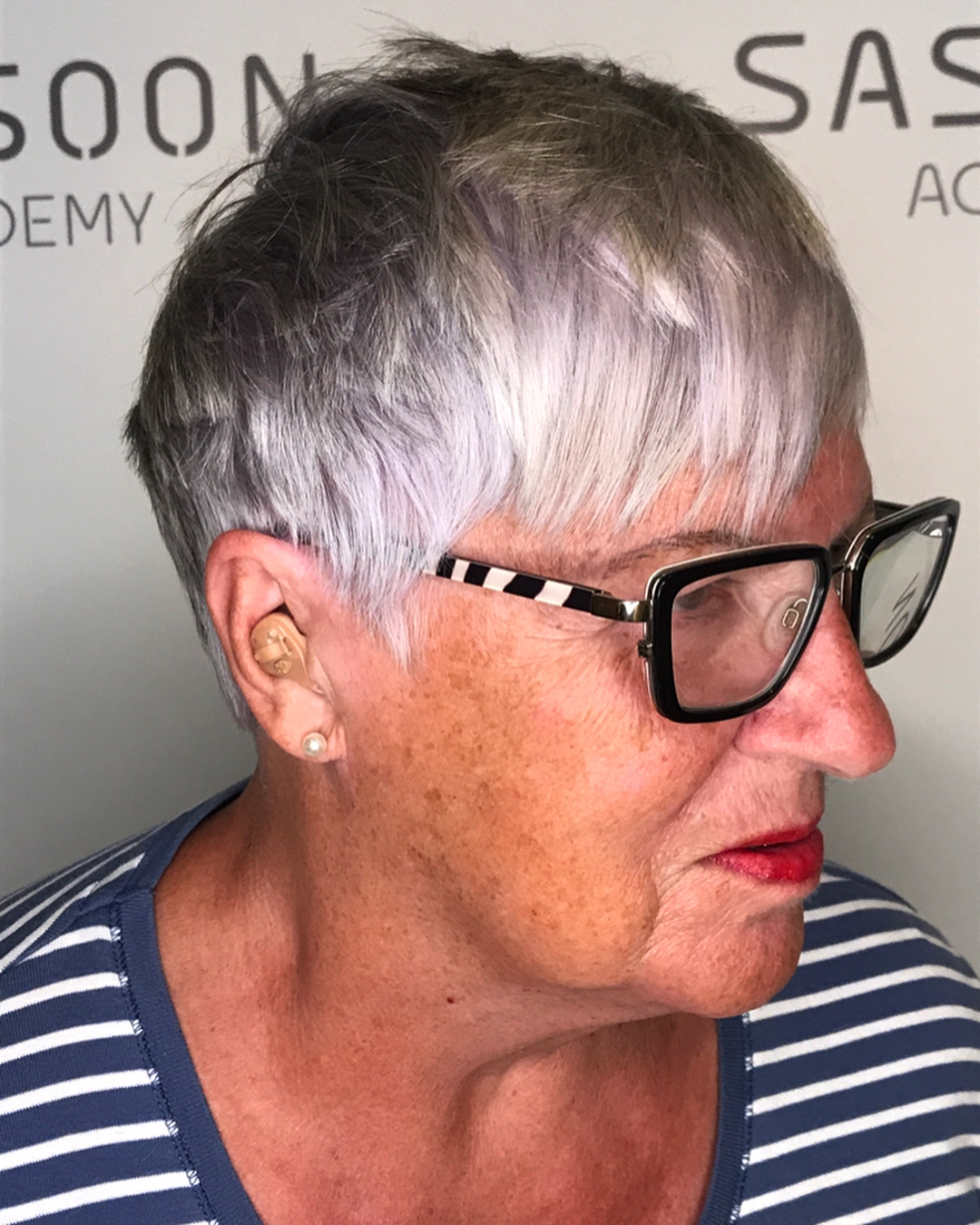 Choppy Silver Pixie with Lavender Tint