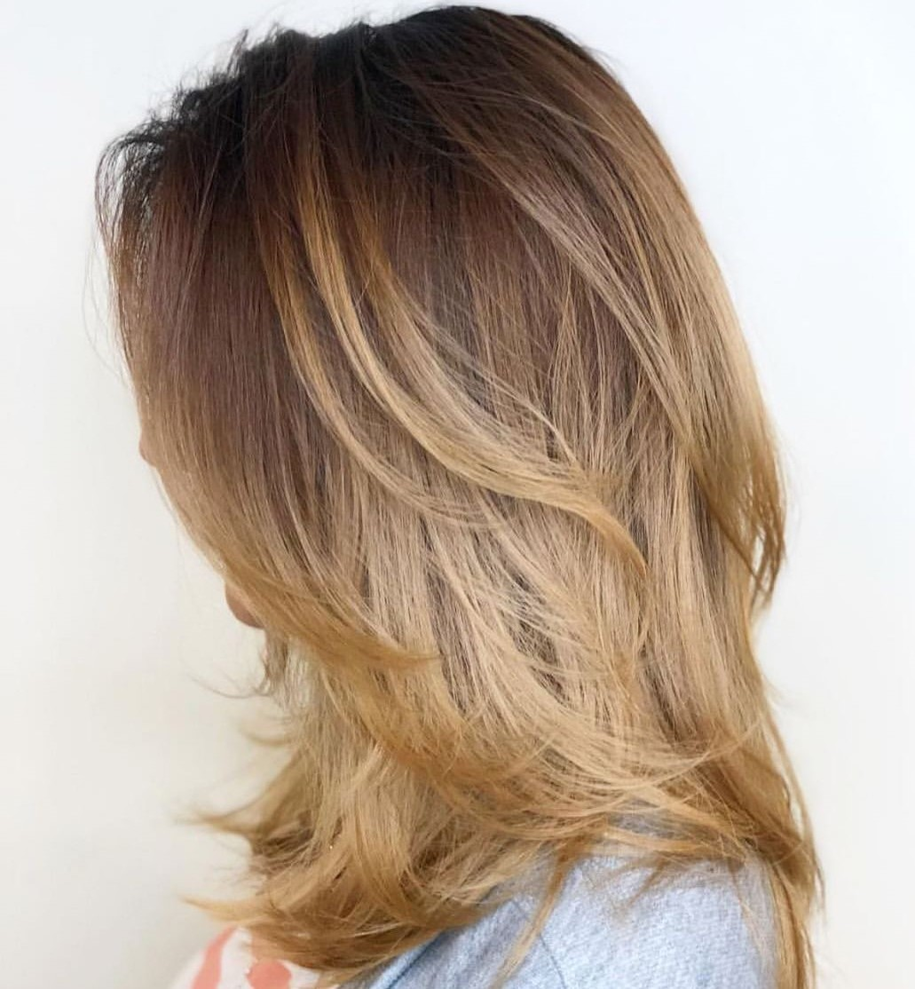 Layered Shoulder-Length Hair with Ombre