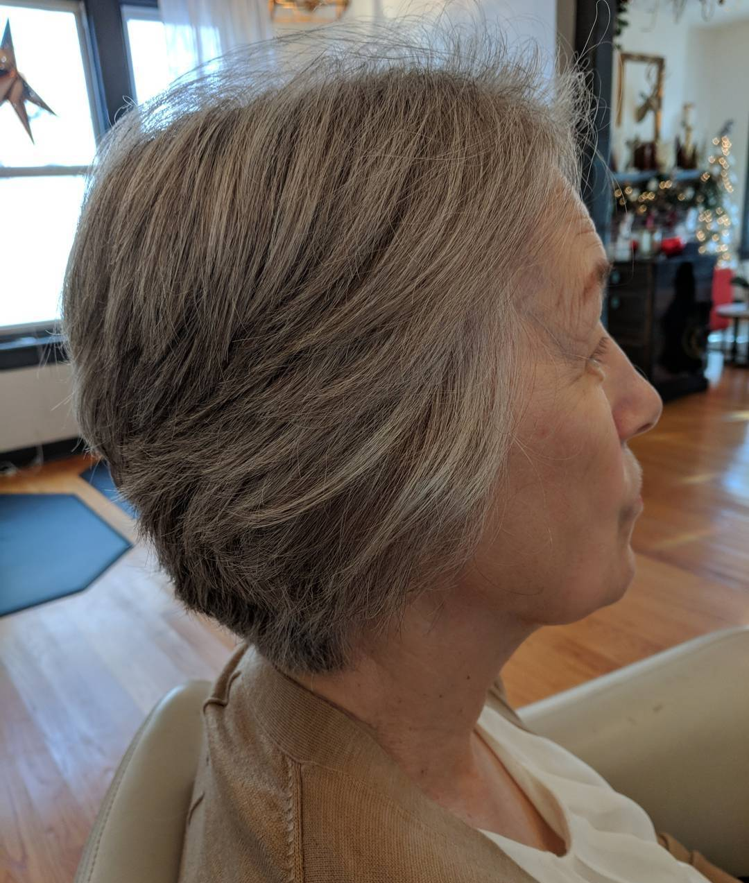 Elongated Pixie Cut for Gray Hair