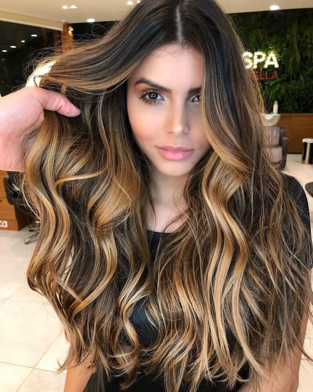 Chocolate Hair with Golden Highlights