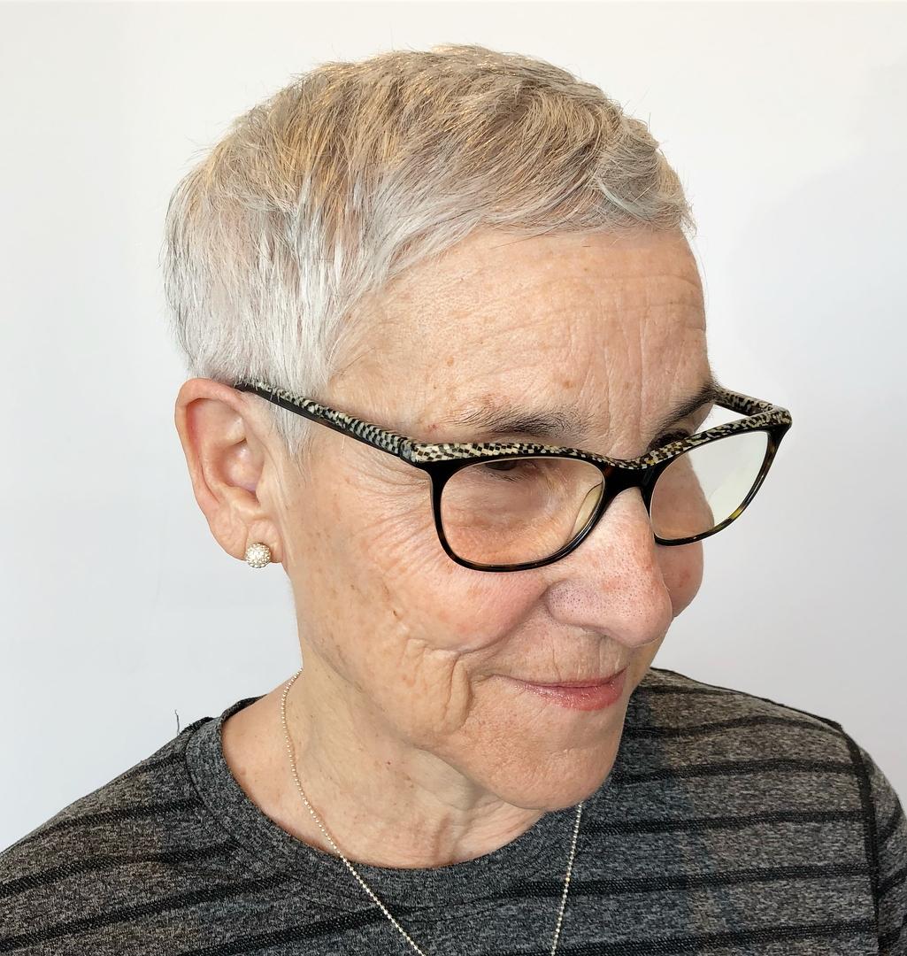 Over 70 Short Haircut with Short Bangs