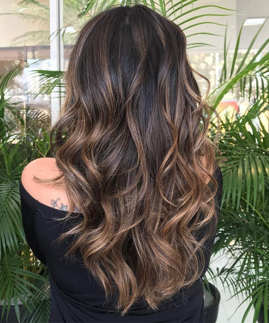 Dark Brown Hair with Light Chocolate Balayage