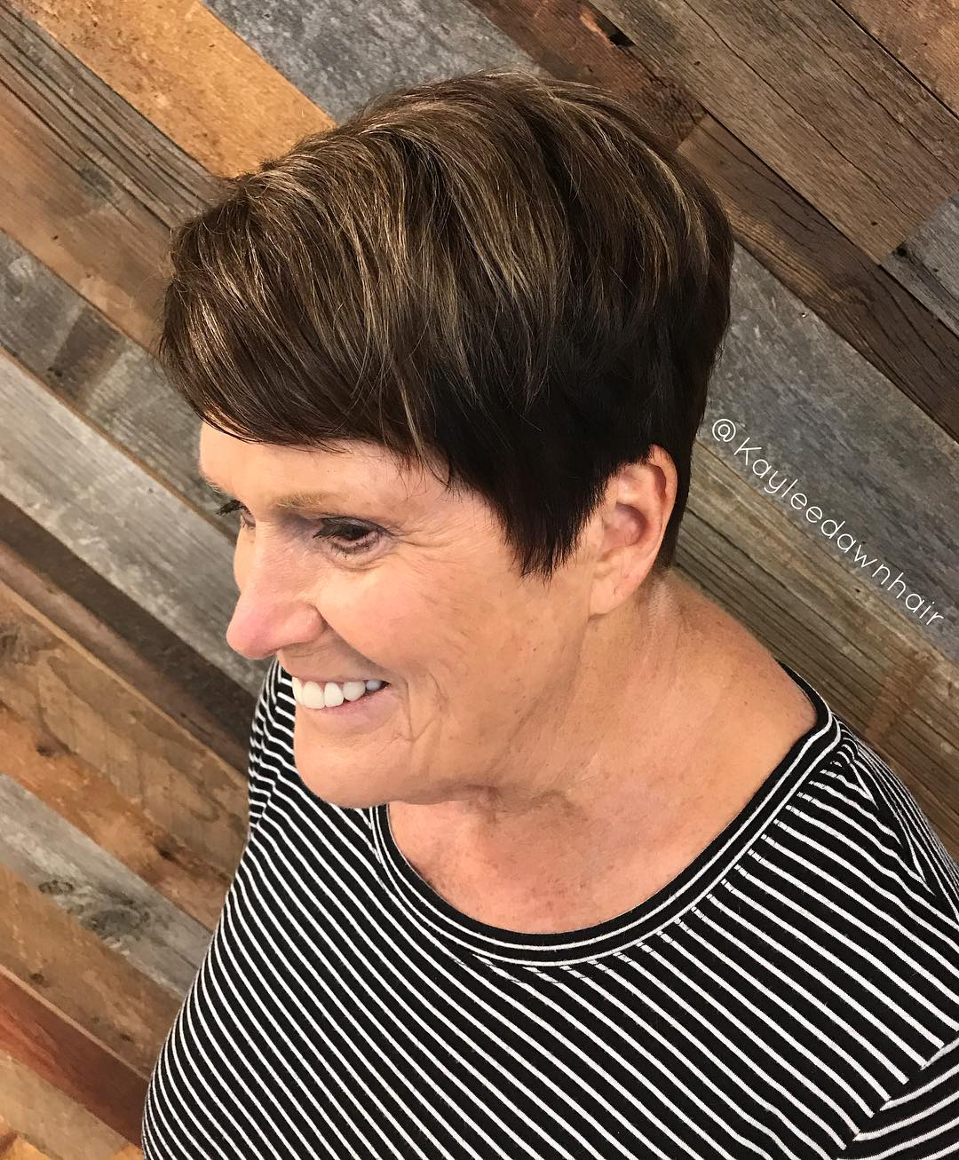 Short Dark Brown Pixie with Highlights