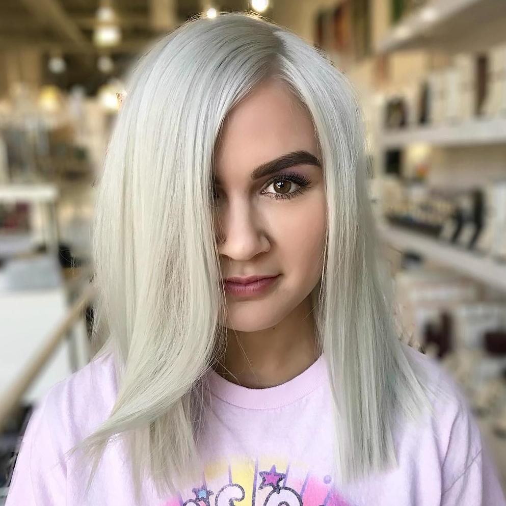 Sleek White-Blonde Bob