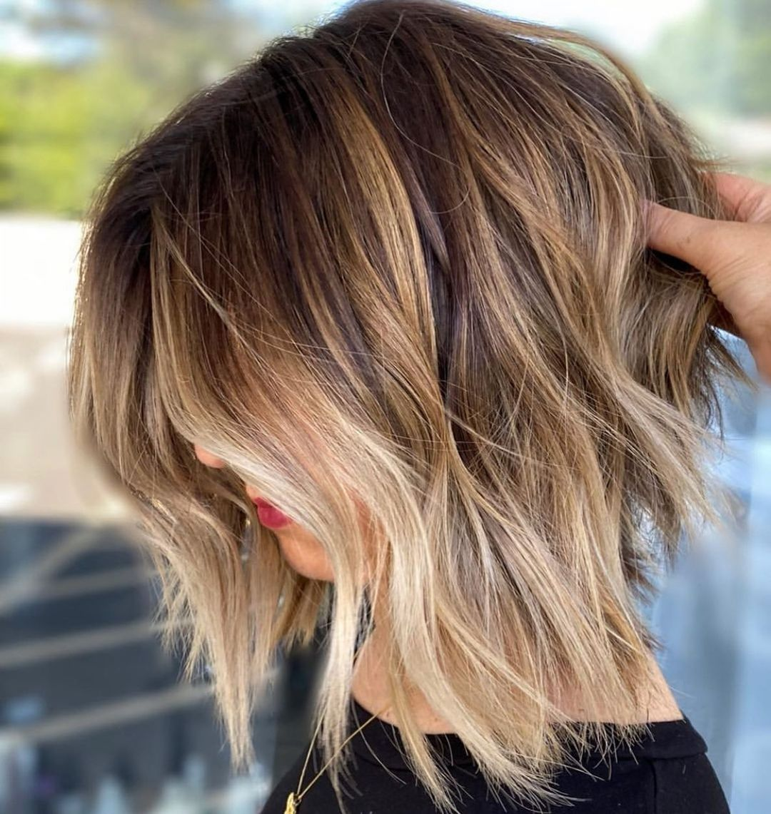 Messy Balayage Bob Hairstyle for Thick Coarse Hair