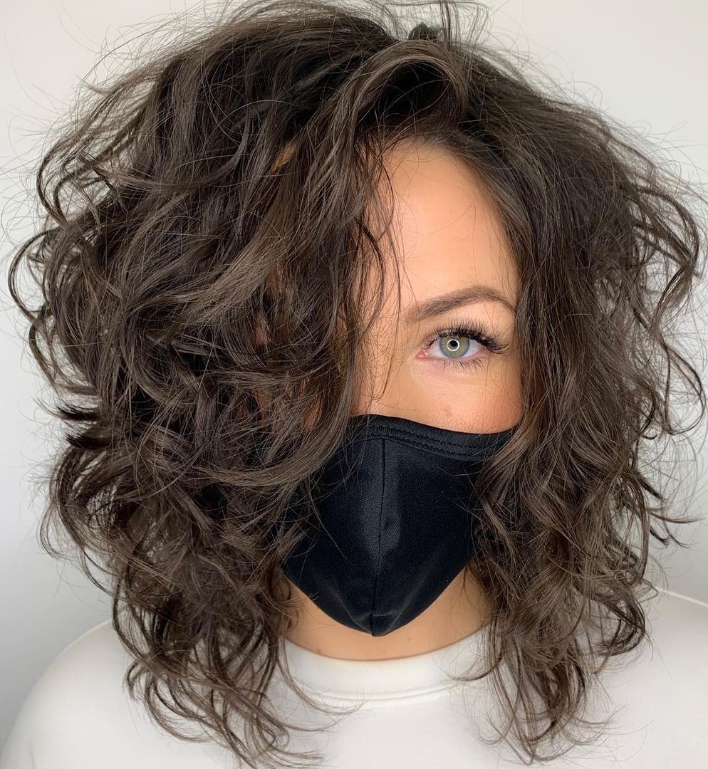 Shoulder-Length Layered Curly Lob