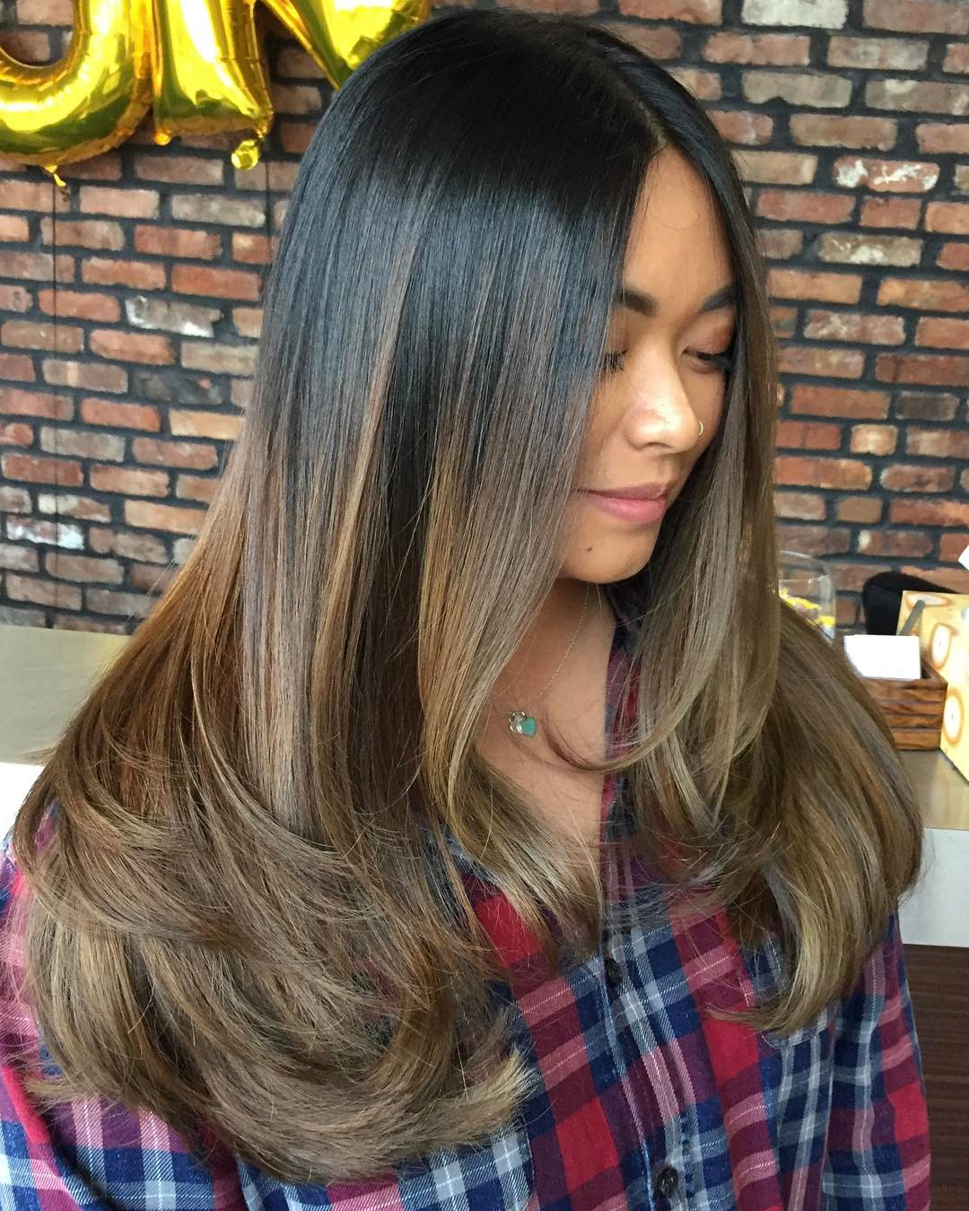 Long Straight Hair with Brown Balayage