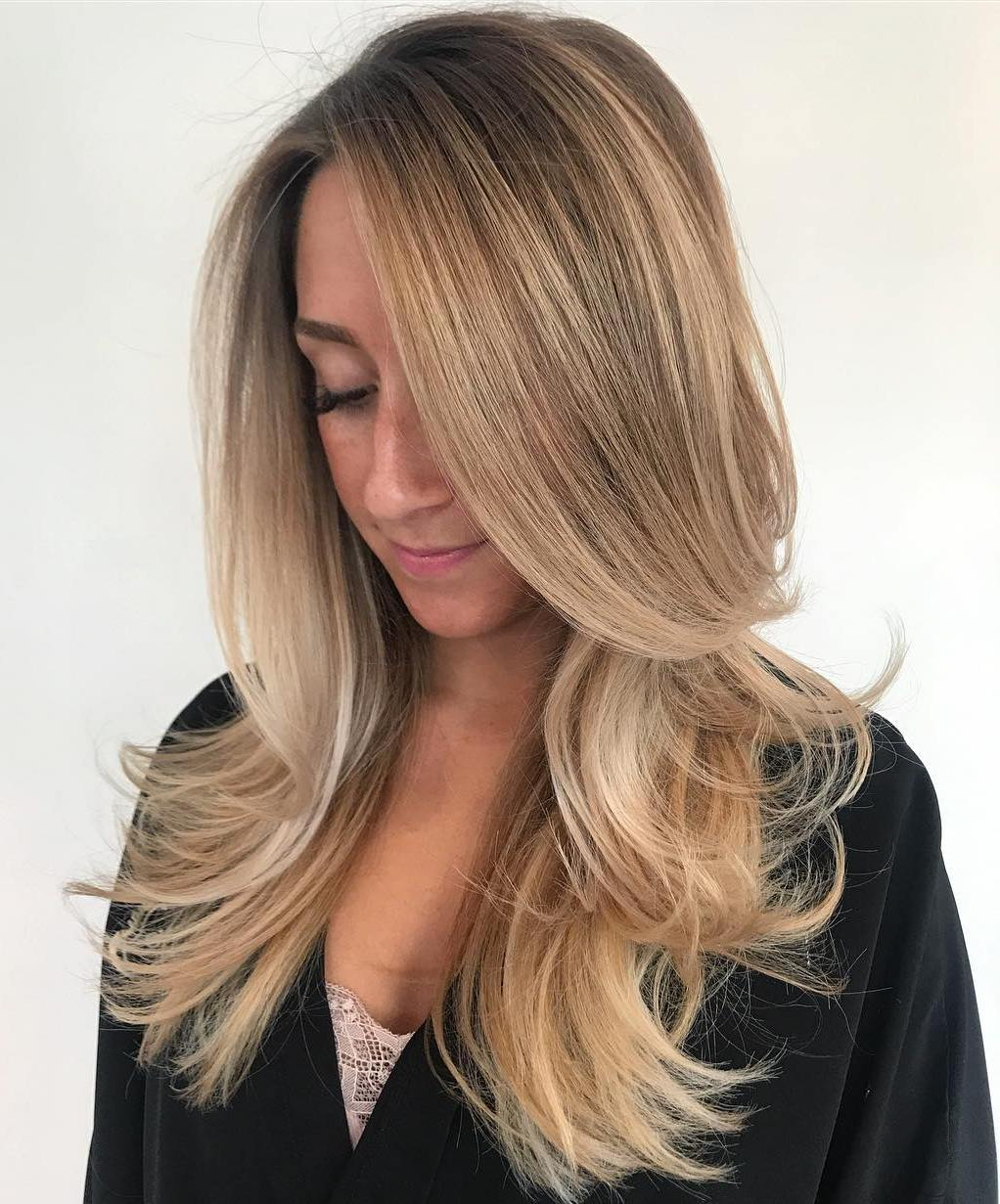 Long Hairstyle with Flipped Up Layers