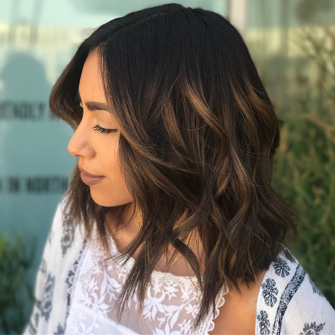 Chocolate Brown Hair with Auburn Balayage