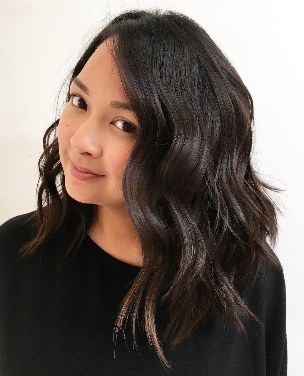 Wavy Lob without Bangs