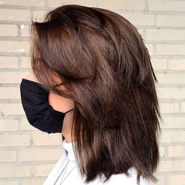 Shoulder-Length Shaggy Chocolate Brown Haircut