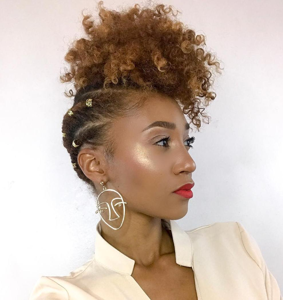 Pineapple Updo with Natural Curly Top
