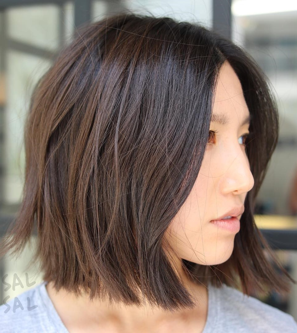 Messy One-Length Brunette Bob