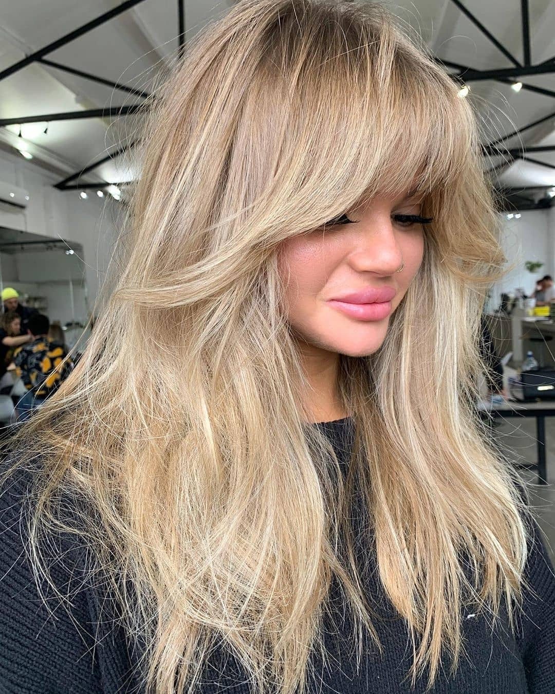 Messy Long Hair with Angled Bangs