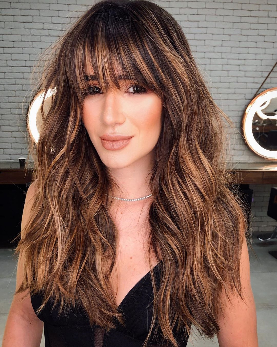 Long Textured Hairstyle with Bangs