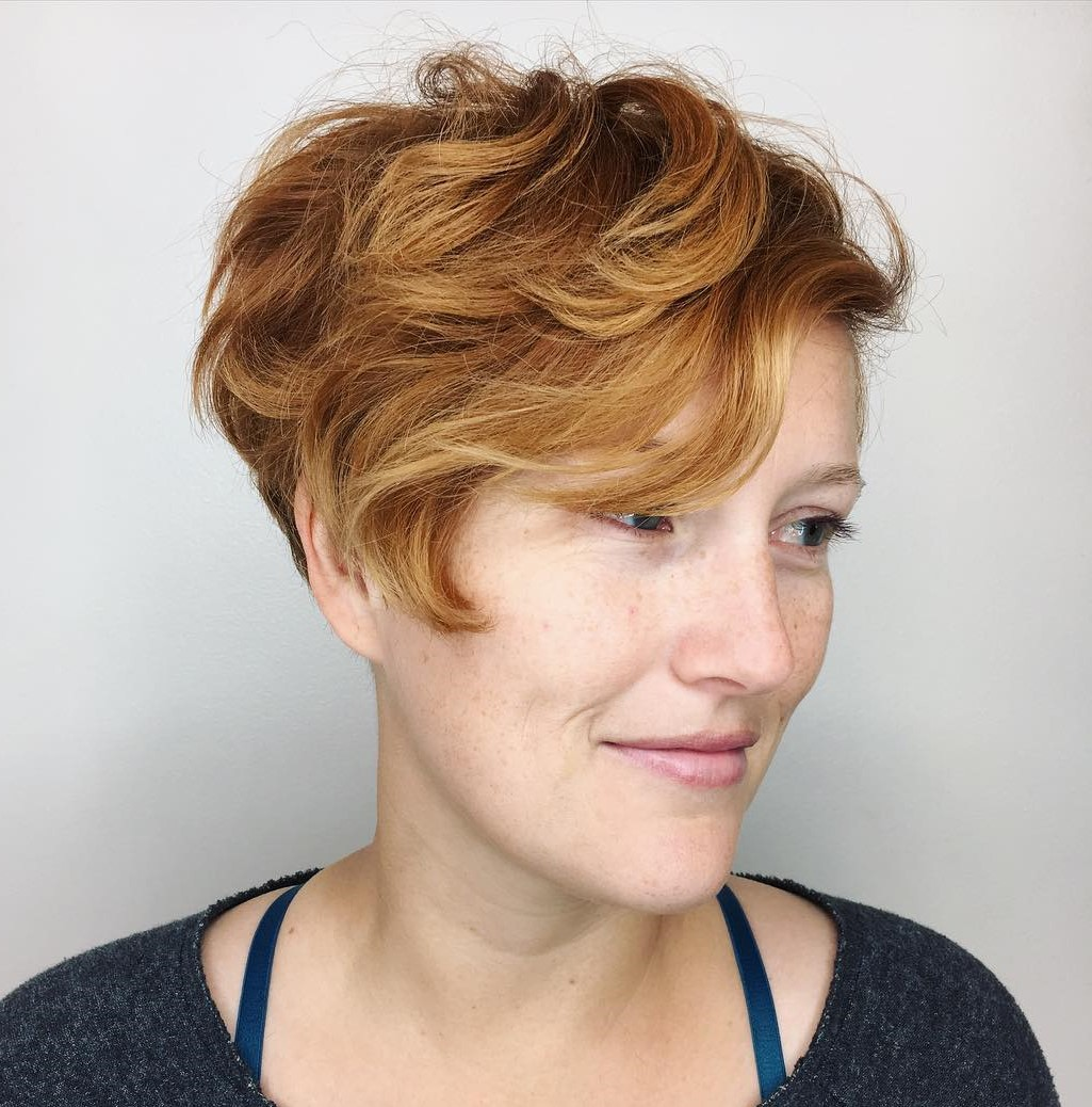 Red Pixie with Side-Swept Curls