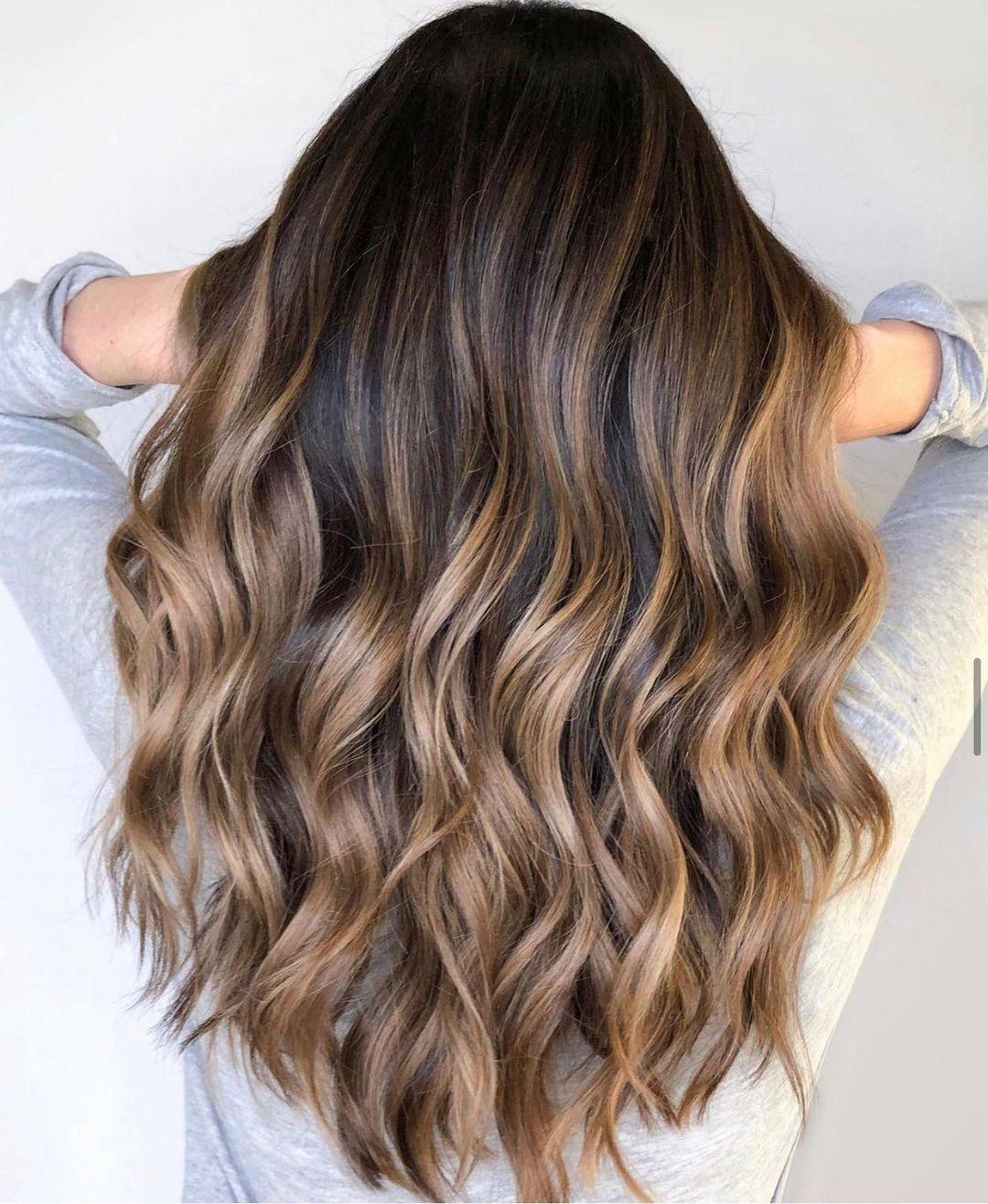 Sweet Honey Highlights for Dark Wavy Hair