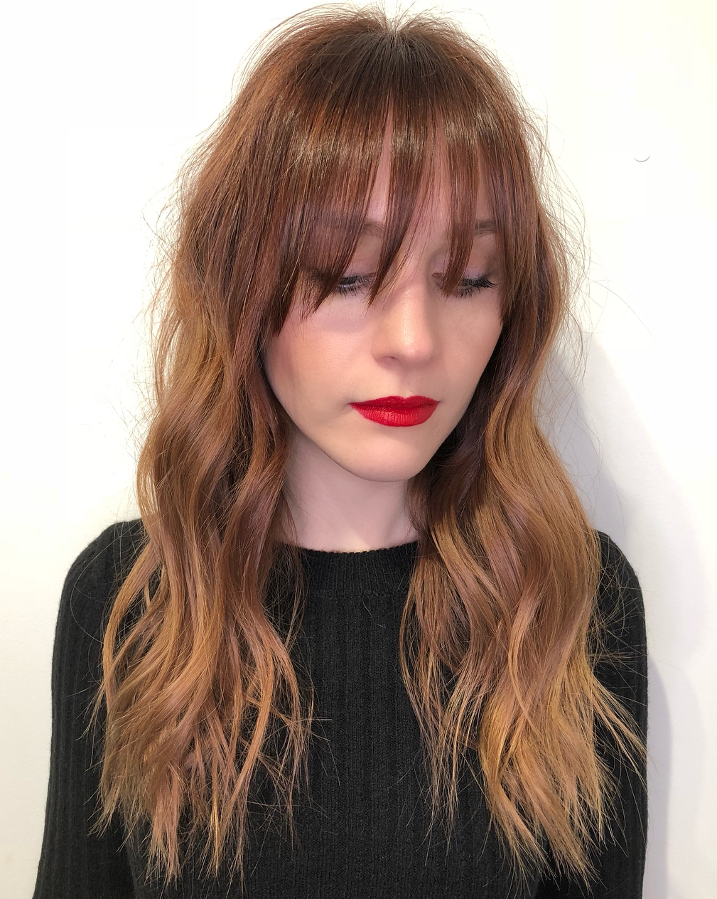 Long Cut with Wispy Waves and Bangs