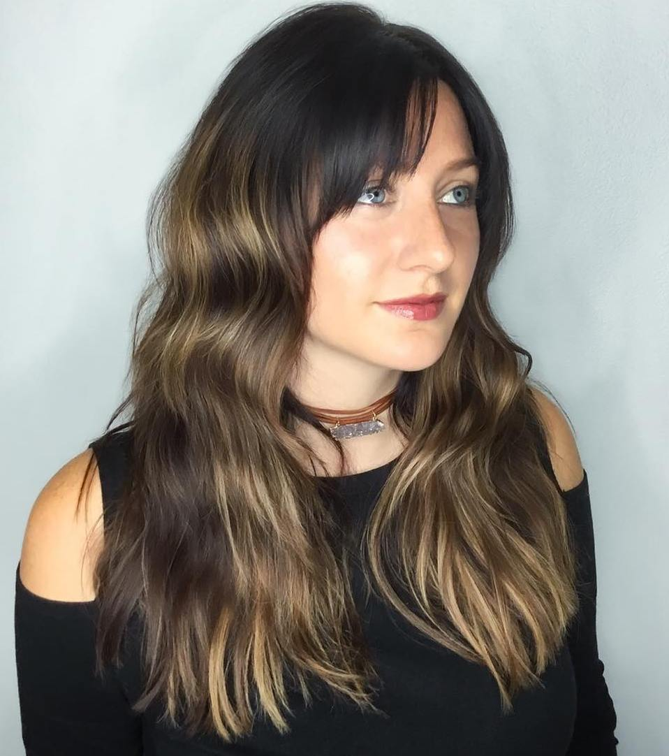 Long Brown Shag with Blonde Balayage