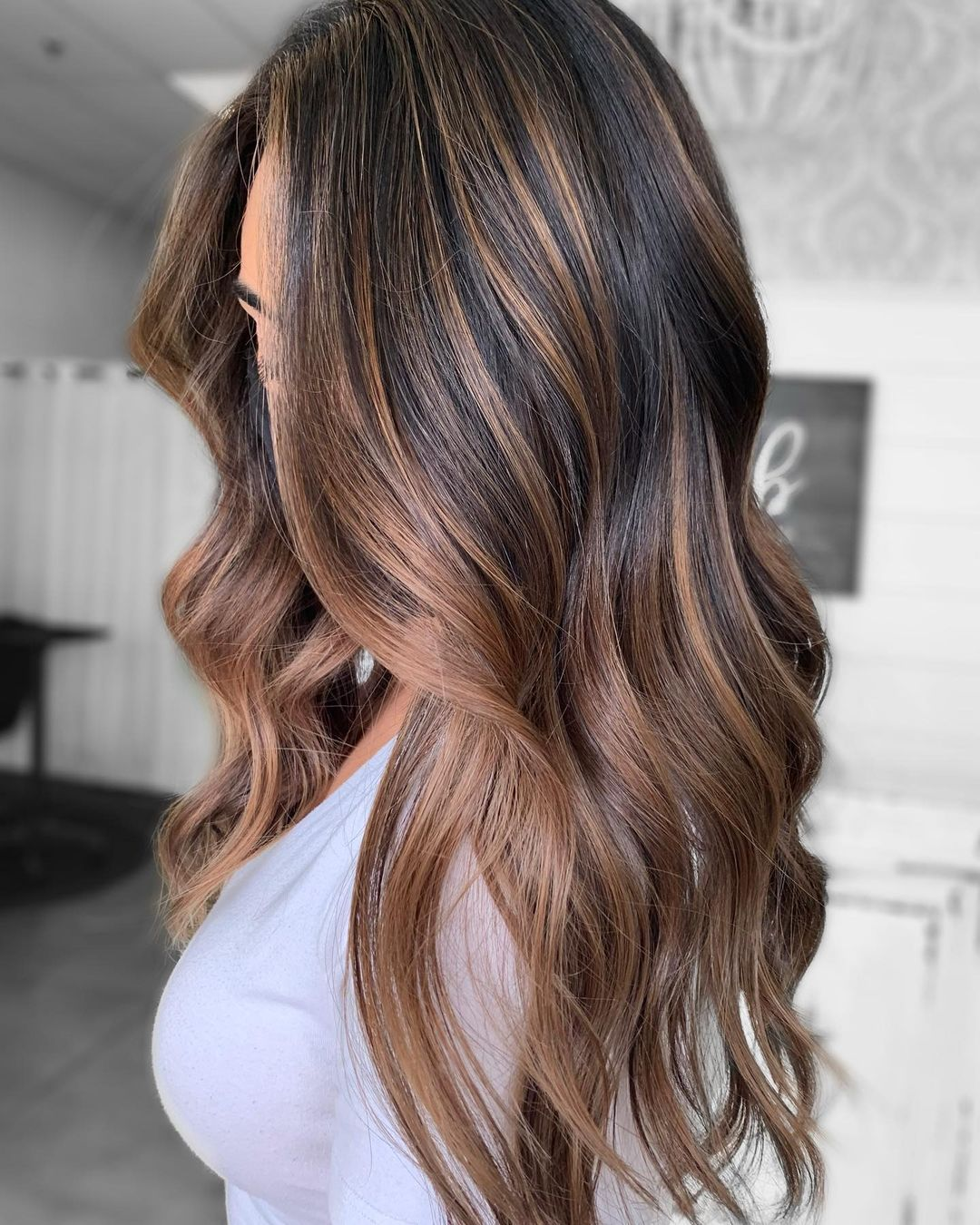 Dark Hair with Cocoa Highlights