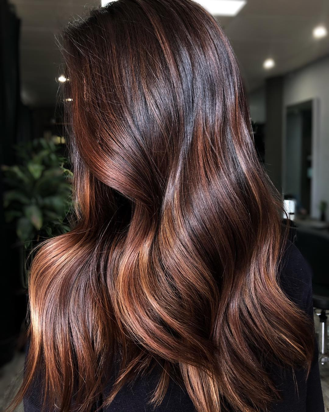 Dark Chocolate Hair with Brown Highlights