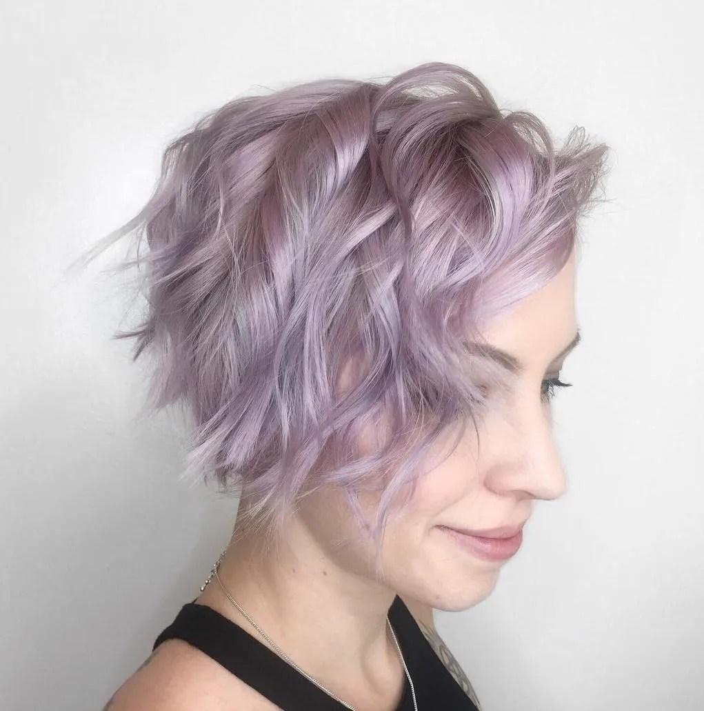 Asymmetrical Lavender Wavy Pixie