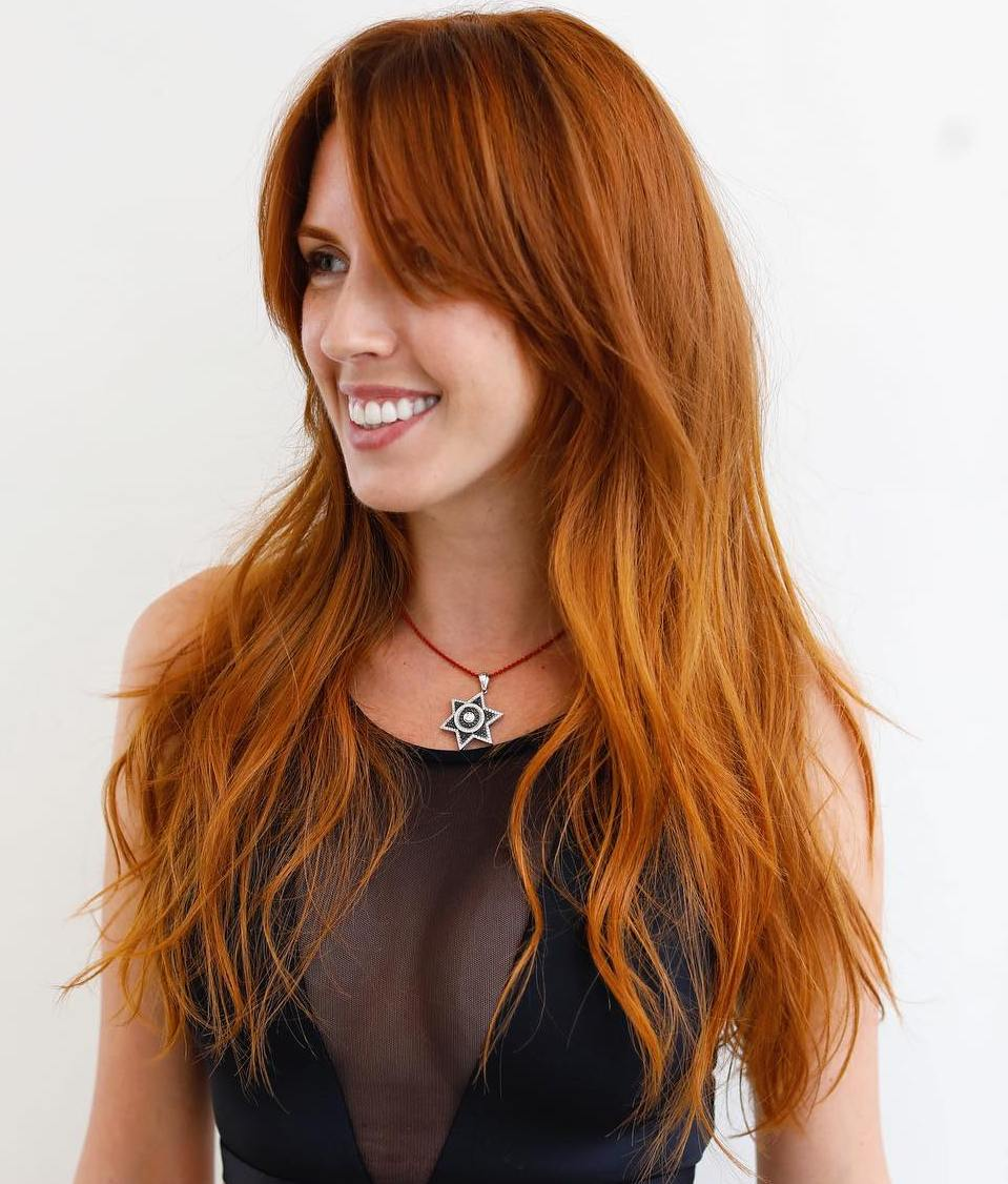 Red Hairstyle with Bangs for Long Hair