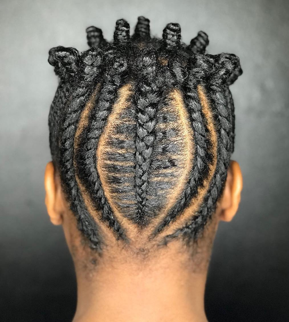 Braided Updo with Bantu Knots