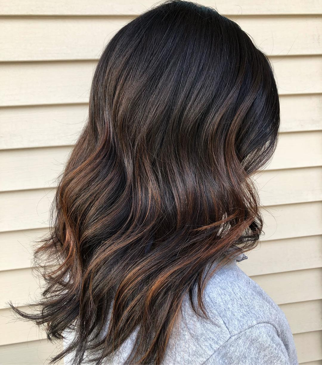 Dark Brown Medium Hair with Highlights