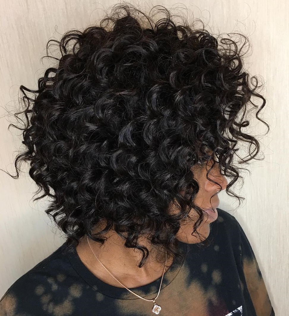 Elegant Brunette Bob for Natural Curls