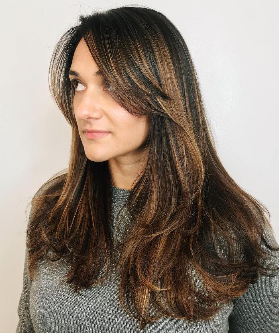 Long Brunette Cut with Layers and Highlights