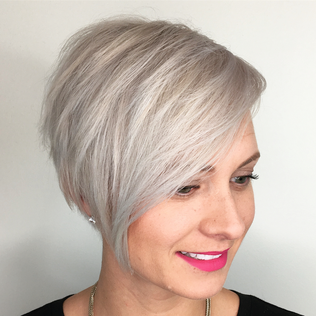 Textured Platinum Pixie Cut