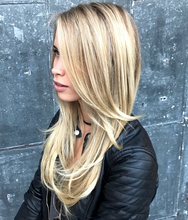 Long Blonde Hairstyle with Dark Roots