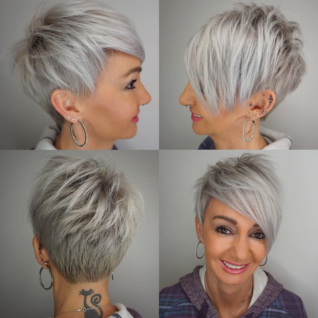 Choppy Gray Pixie for Fine Hair
