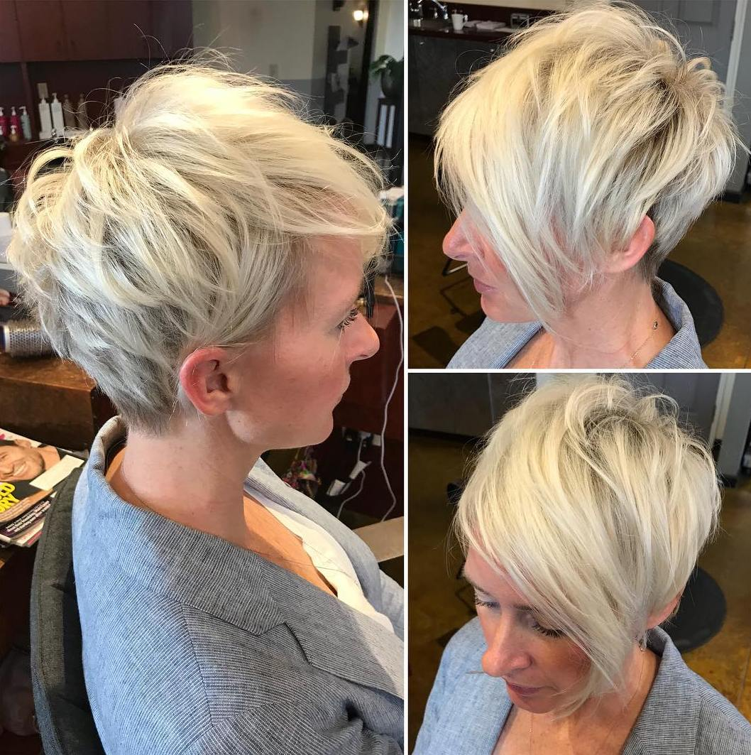 Trendy Platinum Pixie with Choppy Layers