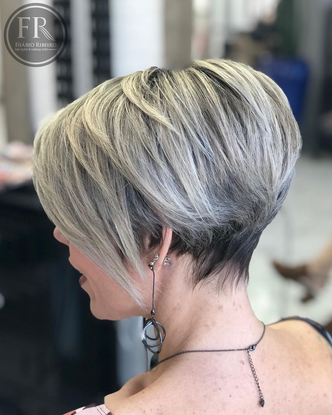 Trendy Long Pixie with Blonde Balayage
