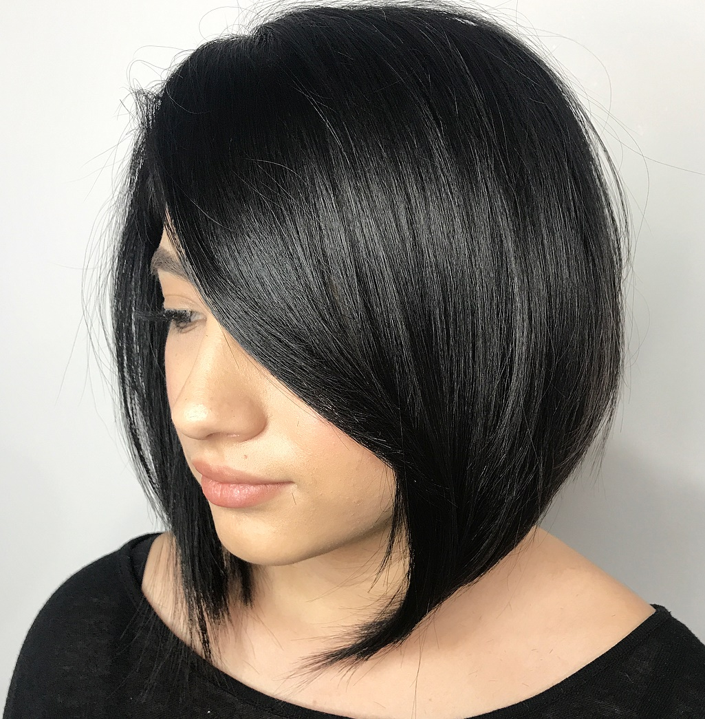Accurate Angled Bob for Thick Hair