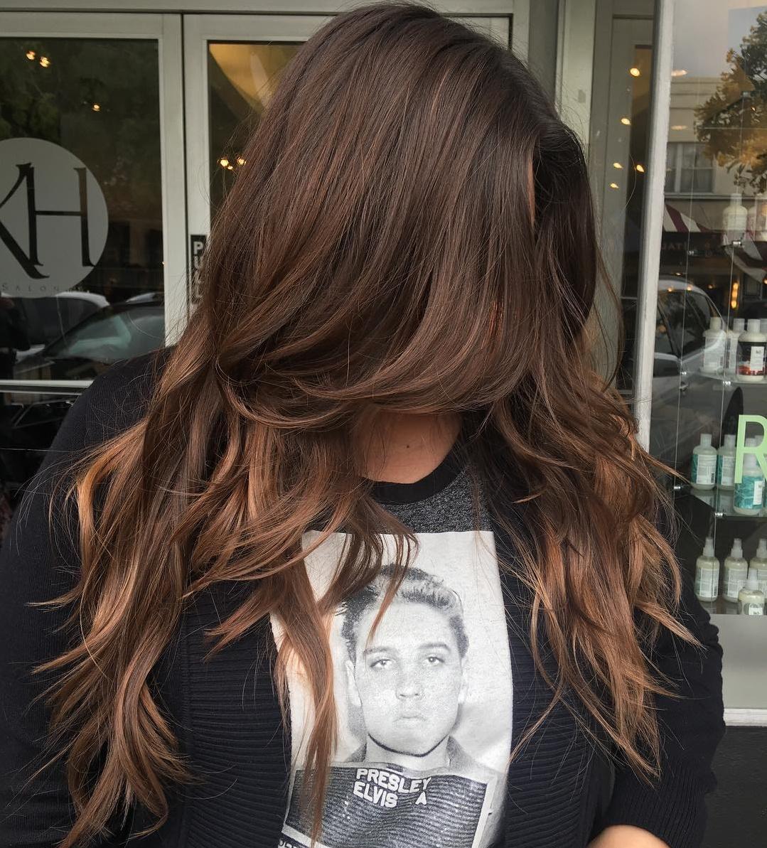 Chocolate Brown Hair with Long Bangs