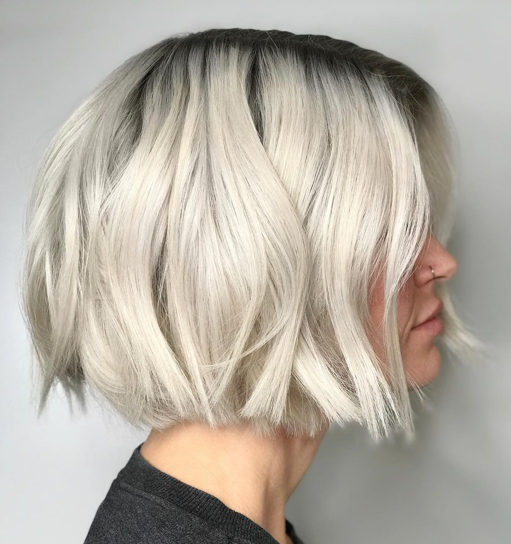 Choppy Platinum Bob with Darker Roots