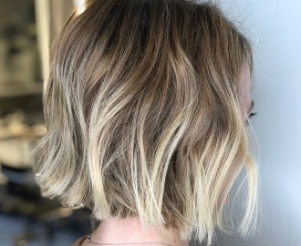 Light Brown Bob with Blonde Highlights