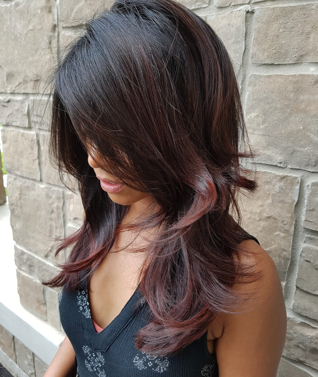 Brunette Hair with Subtle Burgundy Balayage