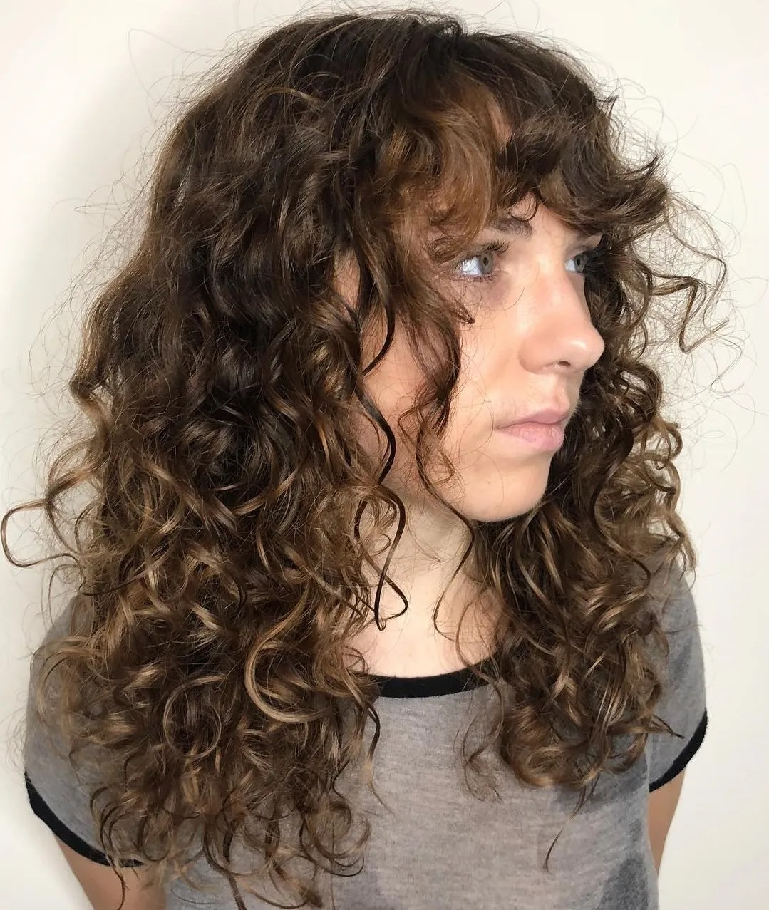 Long Layered Hairstyle for Frizzy Curly Hair
