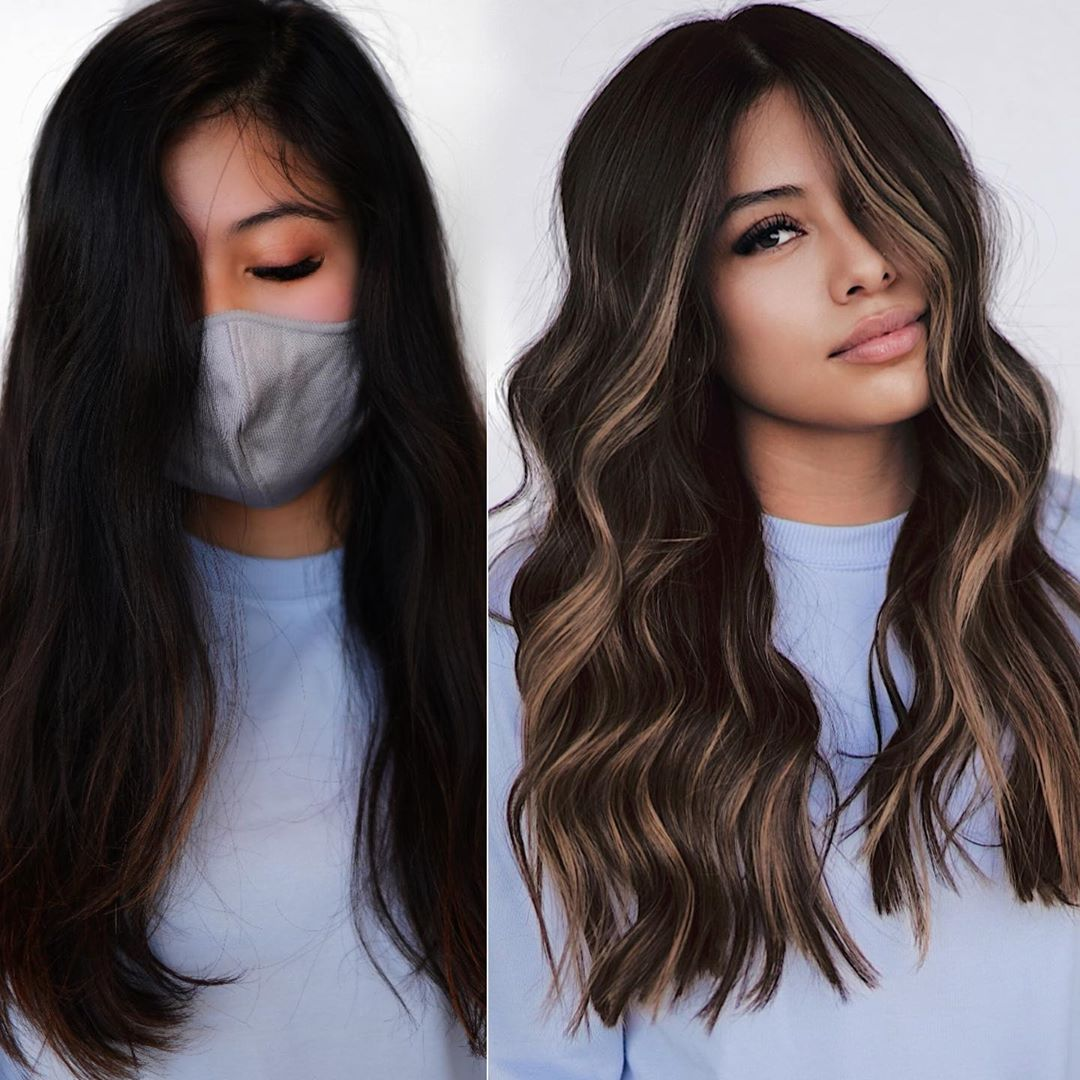 Dark Hair with Blonde Money Pieces and Highlights