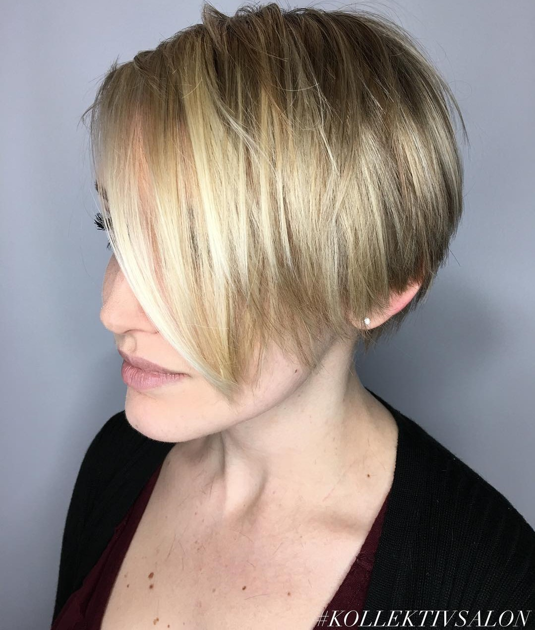 Long Pixie Bob with a Side Part