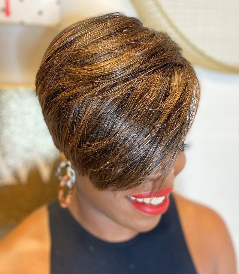 Short Black Hairstyle with Highlights
