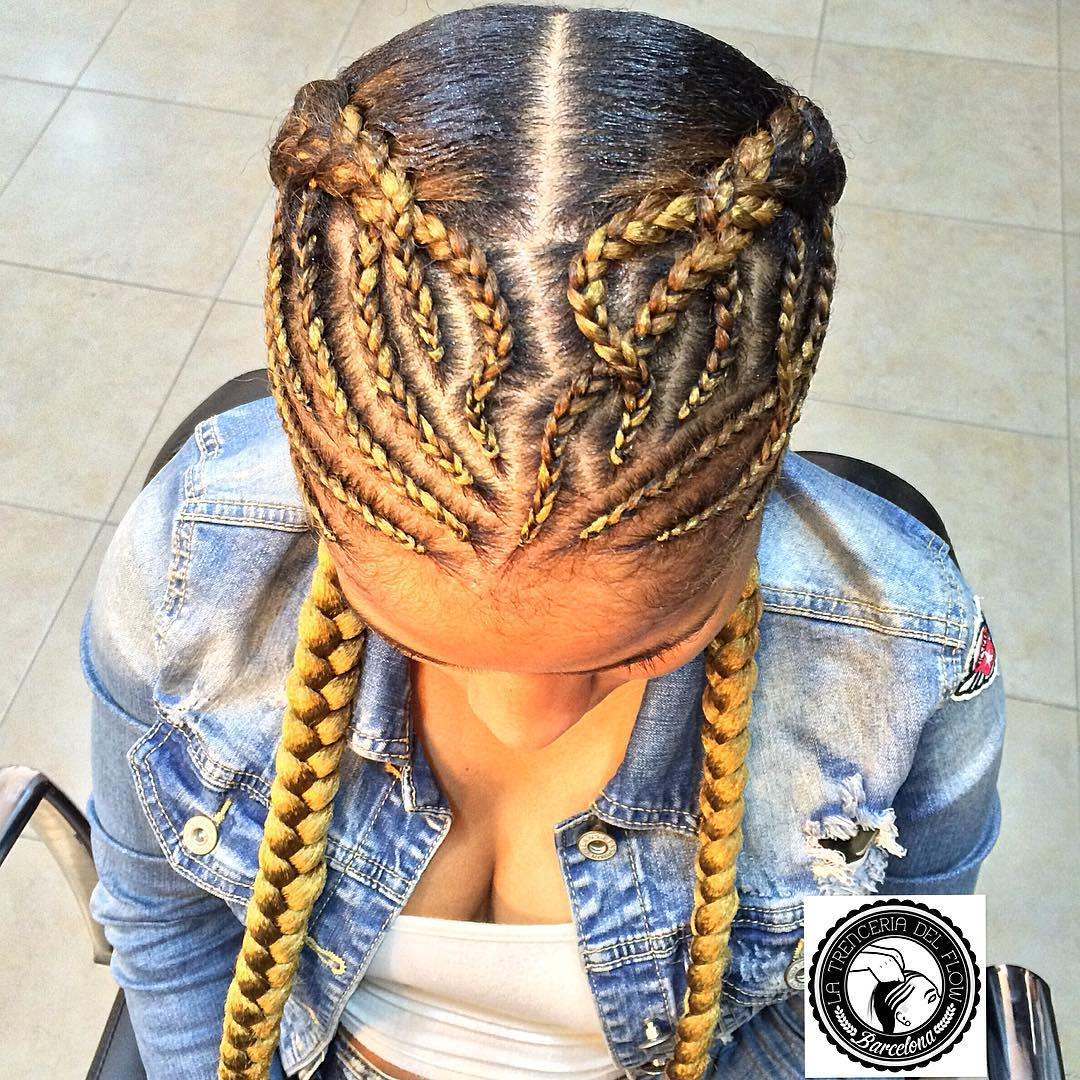 Two Pigtail Braids with Front Cornrows