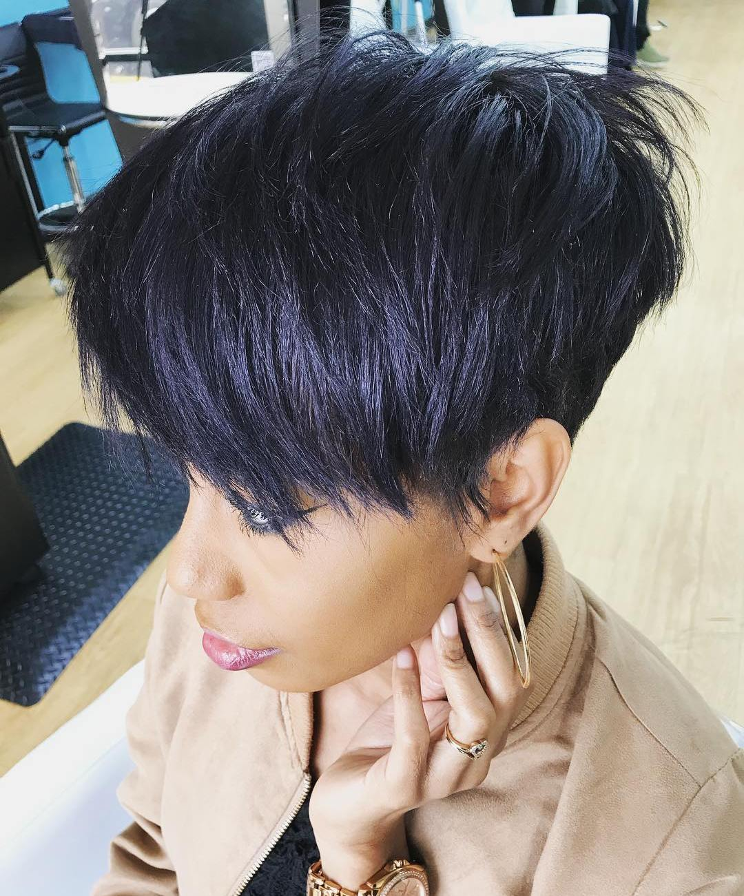 Short Dark Purple Feathered Haircut