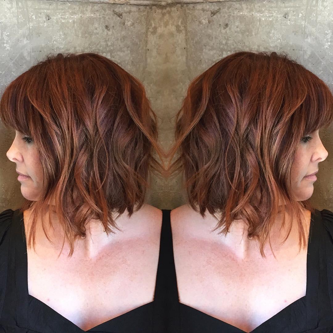 Copper Red Bob with Piece-y Waves