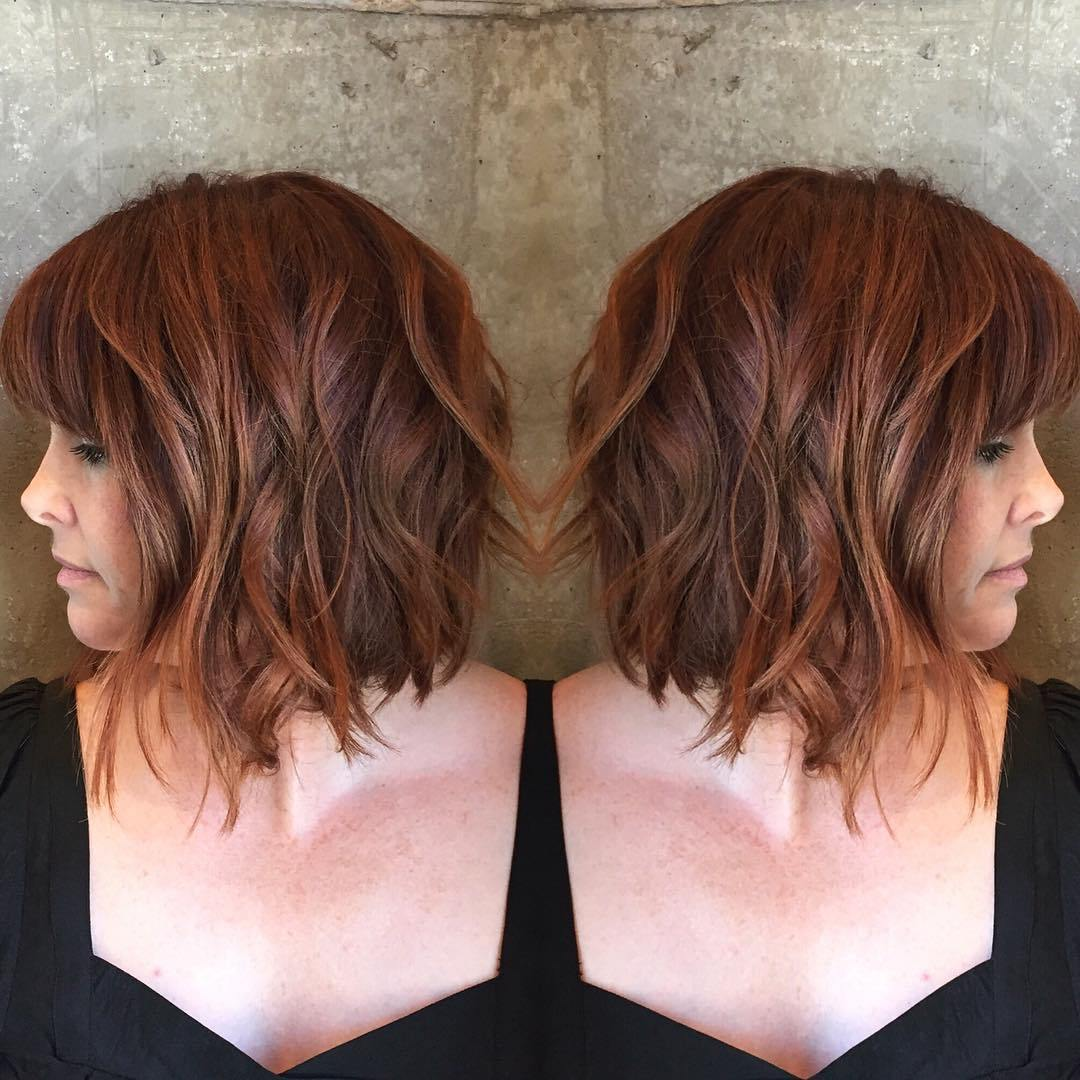 Copper Red Hair Cut with Piece-y Waves