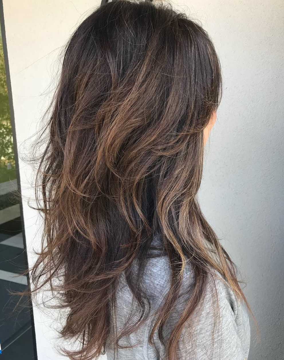Long Brunette Shag with Highlights